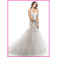 Free Shipping One shoulder Sweetheart Lace Tulle Mermaid Bridal Gown, Wedding Dresses 2014 Joleen