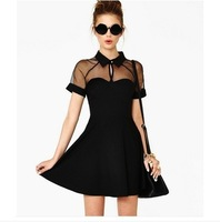 European Style Brand Women's Dress Fashion Hollow Out PUPatchwork Sexy Dresses