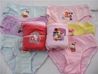 Cute Cartoon Mixed Designs Girl's Briefs Children Underwear Wholesale Kid's Underwear 6 Sizes Available 12pcs/lot Free Shipping