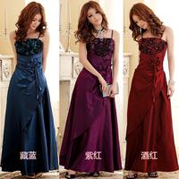 Fashion royal design plus size long evening dress small women wedding evening dress banquet spaghetti strap one-piece dress