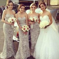 2014 Sweetheart Lace Floor Length Long Maid Of Honor Mermaid Bridesmaid Dress Brides Maid Dress vestido de dama de honra