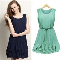 2014 New summer dress Women Solid Cascading Rulffle Tank Dress