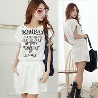 Preppy Style Women's clothing casual dress round collar short sleeve letter printed dress harlan pocket korean dress female
