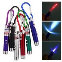 3 in 1 Laser Pointer 2 LED Flashlight UV Torch Keychain Random Color