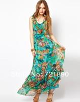 Bohemia Green Flowers dress Brand Long Dress Sweet Lovely Print Ruffles Bohemian Dress women