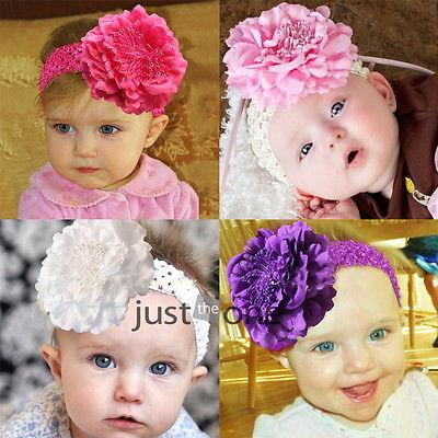 Cuty Baby Peony Flower Hair Clip with Stretchy Crochet Headband for Girl Pettiskirt(China (Mainland))