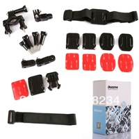 7 in 1 for gopro Accessory Bicycle Handlebar Mount+vented Helmet Mount+buckle Basic  Joint+velcro Belt for Remote