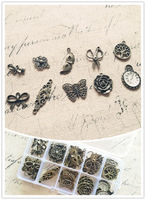( Double Holes & Charms ) 85Pcs/Set Mix 10 Styles Vintage Bronze Jewelry Charms Beads Pendants Jewelry Findings & Accessories