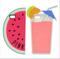 2014 New PINK 3D Fruits Watermelon Goblet Drinking Cups Soft Silicone Cell Phone Cases Cover For Apple iphone 5 5G 5S Shell 610