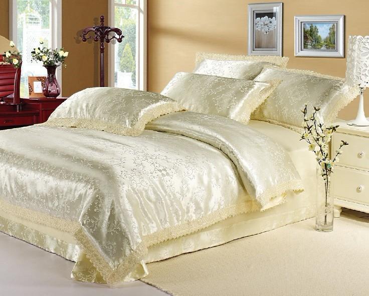 Creme branco jacquard rendas conjunto de cama consolador rei queen size tencel seda capa de edredão de luxo lençol de linho colcha 35 cores(China (Mainland))