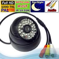 "Free shipping 1000tvl HD night vision Audio Camera 48IR Leds 1/3"" Cmos Sensor 1280*700 Pixel IR-Cut"