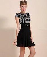 Free shipping 2014 Summer fashion o-neck short-sleeve stripe Chiffon patchwork high waist sweet women's noble one-piece dress