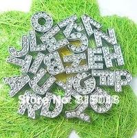 High Quality 260pcs/lot 10mm A-Z full rhinestone slide letter Alphabet fit for 10mm diy leather belt