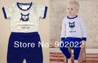 Free shipping Boy's night owl embroidery short sleeve pajamas sleepwear