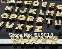 Wholesale 260pcs/lot 10mm A-Z gold color slide letter Alphabet fit for 10mm diy key chain