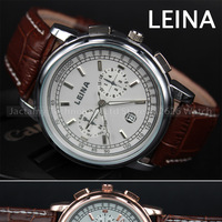 25014 New LEINA Branded Dress Quartz Watch Men's Fashion ANALOG Wristwatch Calendar Gold Plated Precise Time Dial Military Watch