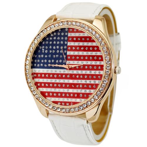 1PC Fashion Stylish White USA American Flag Womens Ladies Girls Crystal Analog Quartz Gift Wrist Watches. Free & Drop Shipping(China (Mainland))