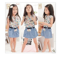 2set free shipping Children's clothing female child summer 2013 child dress child princess dress chiffon denim skirt