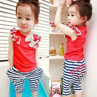 2set free shipping Children's clothing 2013 summer female child baimuer laciness bow vest stripe harem pants set