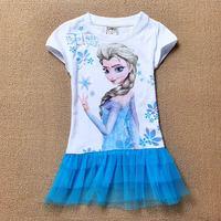 New 2014 frozen girl dress,  summer girl clothing, 6pcs/lot wholesale Wu Children Clothing Free Shipping