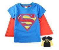 Retail ! New 2014 summer Baby boy T-shirt Superman/batman T-shirt + cloak 2pieces 2-6Tbaby