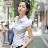 2014 Elegant Women Career OL Cotton Shirt  S-2XL Casual Button Turn-down Collar Short Puff Sleeve Blouse Slim Top White Black