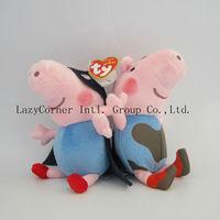High Quality 5sets(1set=2pcs) Anime Baby Toys Peppa Pig Toy 19CM George Peppa Pig Plush Stuffed Doll
