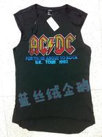 F21 sleeveless loose t-shirt acdc band vest HARAJUKU street vintage retro finishing letter tee