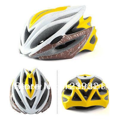 Free Shipping Cycling BMX Bike Sports Racing motorcycle helmets 2014 22 Holes Helmets Matte Yellow-White(China (Mainland))