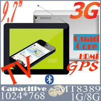 New superior metal 9.7 inch MTK8389 quad core 3G Phone Call android tablet pc with built in 3g modem GPS Bluetooth FM Analogy TV