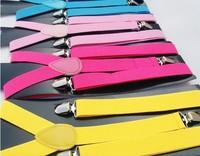 Free shipping-Men`s Unisex Clip-on Braces Elastic Slim Suspender 1inch wide 31 colors mix Y- back Suspenders Wholesale