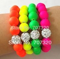 10 bracelets/lot  Handmade Jewelry Hot NeonCheap Bracelet Fluorescence Candy Color Beads Disco Shamballa Ball Stretch Bracelets