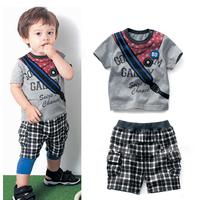 Kids Boys Messenger Bag Pattern Tops Shirts+Short Plaid Pants 2Pcs Costume 1-5Y