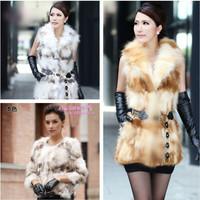 Fur hat long design vest outerwear women's fox fur