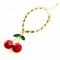 Fashion Cherry Charms Link Chain Bracelet