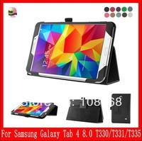 Folio Slim leather case For Samsung Galaxy Tab4 8.0 T330 /T331 /T3335  leather case-Black