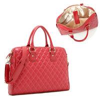 BA040 Fashion Womens PU Leather Red Handbags One Shoulder Bag 14 inch laptop Bag