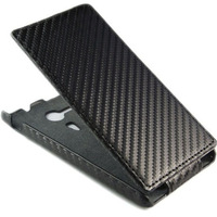 Carbon Fiber Flip Vertical Leather Case Cover for Sony Xperia  SP M35h,Cell Phone Cases Free Shipping