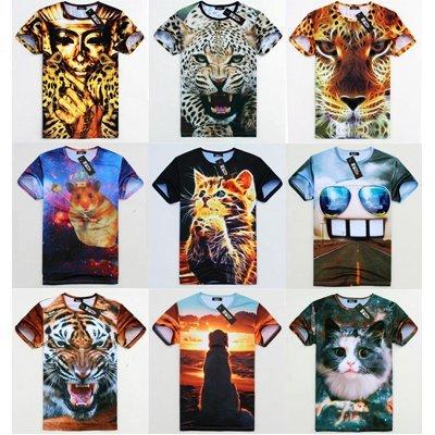 free shipping 2014 Men Clothing Mr gugu miss go Short t HARAJUKU Fashion Casual 3d animal short-sleeve T-shirt Tees Tops For Men(China (Mainland))