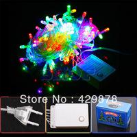 10m Multicolour 100 LED 8-Modes String 220V Light Party Chrismas Lamp Decoration V1 220V led lamps led bulb