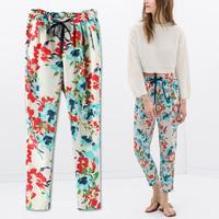 New Vintage Summer Fashion Women Elastic Waist Boho Bohemia Floral Trousers Pants