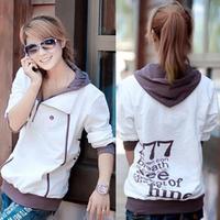 women Plus size women's outerwear 2014 spring outerwear juniors clothing loose sweatshirt M-4XL 3XL XXL with hood sport active