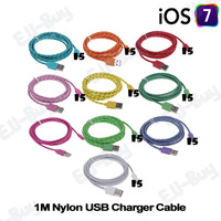5pcs/lot Braided Wire USB Cable 1M 3ft Sync Nylon Woven 8Pin Charger Cords for iPhone 5 5S 5C iOS7 iPad. NYL1MI5C-5