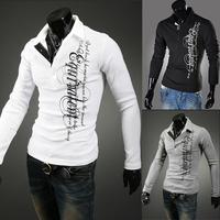 2014 autumn British Printing cotton polo shirts trendy clothing korean fashion casual long-sleeved men's shirts  Size:XXL. XXXL
