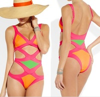High quality 2014 new arrival hot sale french designer HL bandage one piece swimwear beach wear swimsuits manufacturer wholesale