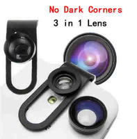 1pcs Free shipping  High quality cell phone universal Clip 160 fisheye lens + 0.65X  wide angel  + 10x macro lens 3 in 1  lens
