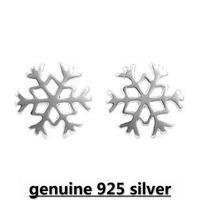 Wholesale Genuine 925 sterling silver crystal fashion earrings snow flower wedding jewelry for women 7S241