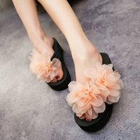 vonfon 5 новых цветов женщин стадо t связали обувь сандалии розовый цветок квартиры женщин Вьетнамки Тапочки размер 34-41