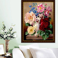 precise printed canvas cross stith kits embroidery pattern diy needlework set 11ct dmc flower stitching painting vase unfinished