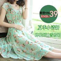 Free shipping+ 2014 women's chiffon one-piece dress slim full dress bohemia one-piece dress female